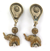 WW2 1940s BOUGHT BACK FROM ASIA / LARGE DROP ELEPHANT CLIP-ON EARRING SET.