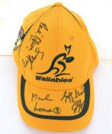 SIGNED WALLABIES SUPPORTERS HAT. 5 SIGNATURES. LOANE, SLACK ETC