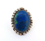 Stunning Azurite & Malachite Decorative Sterling Silver Statement Ring 34.3g