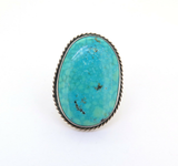 Signed Michael Rogers Handmade Paiute Turquoise Sterling Silver Ring 22.3g