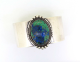 Vintage David Fletcher Garcia Sterling Silver Azurite & Malachite Cuff Bracelet