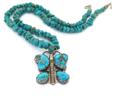 Vintage Navajo Sterling Silver & Turquoise Butterfly Beaded Turquoise Necklace