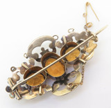 Antique 9ct Yellow Gold Golden Citrines Bar Brooch Val $1960