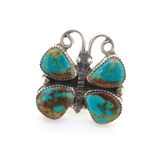 Vintage Sterling Silver & Turquoise Navajo Butterfly Ring Stamped D.S. Size R