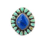 Beautiful Sterling Silver Turquoise & Lapis Navajo Ring Tonya J Rafael 30.5g