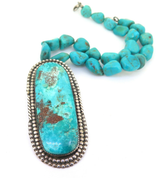 Navajo Sterling Silver & Turquoise Statement Pendant & Beaded Turquoise Choker