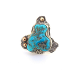Handmade Sterling Silver & Turquoise Carving Unique Design Ring Size U 17.8g