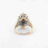 A Ladies 10K Yellow Gold 1.77ct Diamond Marquise Cluster Ring Size J.5 Val $3650
