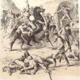 1879 HISTORY of AUSTRALASIA LITHOGRAPH. ATTACKED by BUSHRANGERS.