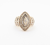 A Ladies 14K Yellow Gold 1.22ct Diamond Marquise Cluster Ring Size J Val $5850