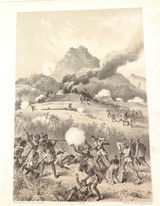 1879 HISTORY of AUSTRALASIA LITHOGRAPH. TAKING A MAORI REDOUBT.