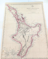 """c1860 LARGE """"WEEKLY DISPATCH ATLAS"""" MAP of NEW ZEALAND NORTH ISLAND."""