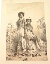 1879 HISTORY of AUSTRALASIA LITHOGRAPH. ABORIGINES & CARPET SNAKE