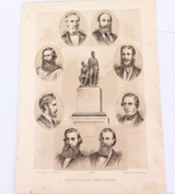 1879 HISTORY of AUSTRALASIA LITHOGRAPH. AUSTRALIAN EXPLORERS.