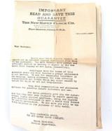 c1930s / 1940s NEW HAVEN POCKET WRIST WATCH RETURN FOR REPAIR EPHEMERA.