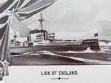 cWW1 PATRIOTIC AUSTRALIAN BATTLESHIP / LION OF ENGLAND POSTCARD.
