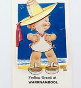 "1950s ""FEELING GRAND AT WARRNAMBOOL"" FOLDOUT NOVELTY POSTCARD."