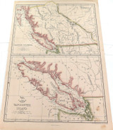 """c1860 LARGE """"WEEKLY DISPATCH ATLAS"""" MAP of VANCOUVER ISLAND & BRITISH COLUMBIA."""