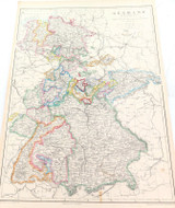 """c1860 LARGE """"WEEKLY DISPATCH ATLAS"""" MAP of GERMANY (WESTERN)"""