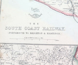 """c1860 LARGE """"WEEKLY DISPATCH ATLAS"""" MAP of THE SOUTH COAST RAILWAY, UK."""
