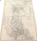 """c1860 LARGE """"WEEKLY DISPATCH ATLAS"""" MAP of CAMBRIDGE & OXFORD."""