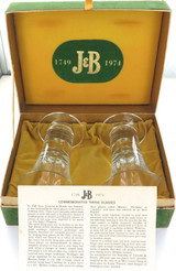 RARE 1974 J&B 225TH ANNIVERSARY COMMEMORATIVE GLASS SET + BOX + INFO SHEET.