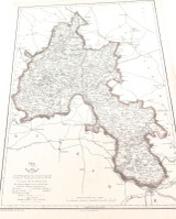 """c1860 LARGE """"WEEKLY DISPATCH ATLAS"""" MAP of OXFORDSHIRE, UK."""