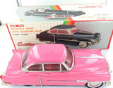 LARGE NICE CONDITION LUXE CAR FRICTION 1950 PINK CADILLAC MF330 PRESSED METAL.