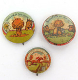 3 x EARLY 1900s AUSTRALIAN SHOW TIN BADGES / BUTTONS. ALL DIFFERENT.