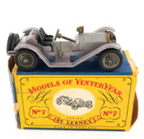 VINTAGE MATCHBOX / LESNEY YESTERYEAR No 7 MERCER 1913 RACEABOUT TYPE 35 J + BOX.