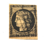 1800s FRANCE CERES 20c IMPERF USED STAMP. REASONABLE CONDITION.