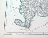 """1859 LARGE """"WEEKLY DISPATCH ATLAS"""" MAP of NORTH DEVONSHIRE UK. RARE DATE STICKER"""
