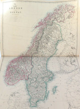 """c1860 VERY LARGE """"WEEKLY DISPATCH ATLAS"""" MAP of SWEDEN & NORWAY."""
