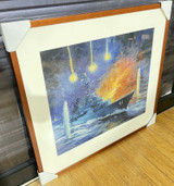 HMAS BRISBANE UNDER FIRE IN VIETNAM by Geoffrey M Vollmer oil Board 59 x 50cm