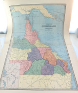 c1886 VERY LARGE DETAILED COLOUR MAP of QUEENSLAND QLD.