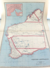 c1886 VERY LARGE DETAILED MAP of WESTERN AUSTRALIA.