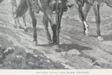 """1886 WOOD ENGRAVING """"MOUNTED POLICE & TRACKER"""""""