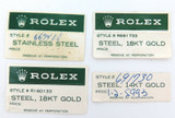 4 OBSOLETE 1980s / 1990s ROLEX OUTER BOX STICKERS. DATEJUST, OYSTER DATE ETC.