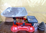 LARGE VINTAGE AJAX MANUFACTURING Co SET SCALES 14LB CAPACITY + VARIOUS WEIGHTS.