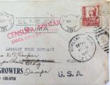 1937 SPANISH CIVIL WAR CENSORED SEED GROWERS COVER, TENERIFE to FLORIDA.