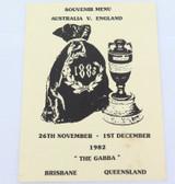 1982 - 1983 CRICKET ASHES TOUR, AUST v ENGLAND, THE GABBA, SOUVENIR MENU.