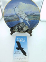 """MAJESTY OF FLIGHT BY T J HIRATA """"SENTRY OF THE NORTH"""" COLLECTORS PLATE & BOX."""