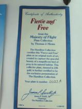 "MAJESTY OF FLIGHT BY T J HIRATA ""FIERCE AND FREE"" COLLECTORS PLATE, BOX & COA."
