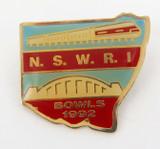 1992 N.S.W.R.I BOWLS BADGE. NSW RAIL.