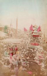 "1800s RARE JAPANESE MEIJI PERIOD ""SCHOOL of YOKOHAMA"" PHOTOGRAPH. PACKED STREET."