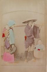 "1800s RARE JAPANESE MEIJI PERIOD ""SCHOOL of YOKOHAMA"" PHOTOGRAPH. PEASANT FAMILY"
