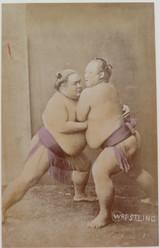 "1800s RARE JAPANESE MEIJI PERIOD ""SCHOOL of YOKOHAMA"" PHOTOGRAPH. SUMO WRESTLERS"