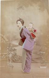 "1800s RARE JAPANESE MEIJI PERIOD ""SCHOOL of YOKOHAMA"" PHOTOGRAPH. MOTHER & CHILD"