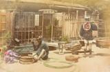1900s RARE JAPANESE MEIJI PERIOD KARL LEWIS, YOKOHAMA PHOTOGRAPH. BARREL MAKING.