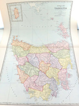 c1886 VERY LARGE DETAILED COLOUR MAP of TASMANIA.